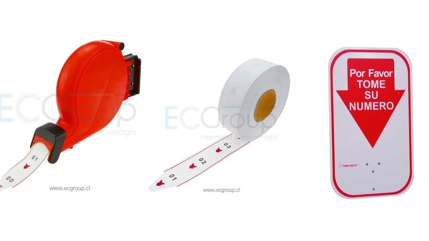 Dispensador de Numero Rojo + 5 Rollos Turnomatic + 1 Señaletica Acrilica